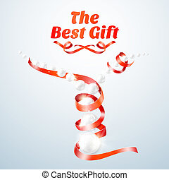Red ribbon with perls Vector illustration