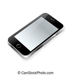 touchscreen phone on white
