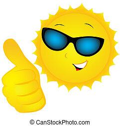 the sun in sunglasses - smiling sun in sunglasses shows the...