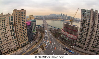 Seoul City 186 - 186) Time lapse of traffic and architecture...