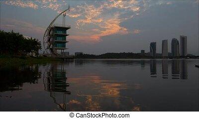 Putrajaya Lake At Dawn, Malaysia - Timelapse Putrajaya lake,...