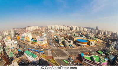Seoul City 187 - 187) Time lapse of traffic and architecture...