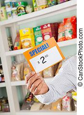 Supermarkt, zeichen, Rabatt, Besitz, Eigentümer, Mann