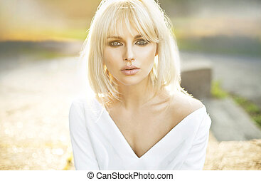 Portrait of beautiful clear skin lady - Portrait of...