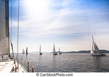 Sailboats sailing sail blue Mediterranean sea