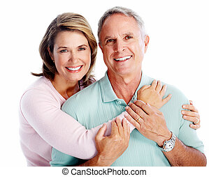 Senior couple portrait Isolated on white background