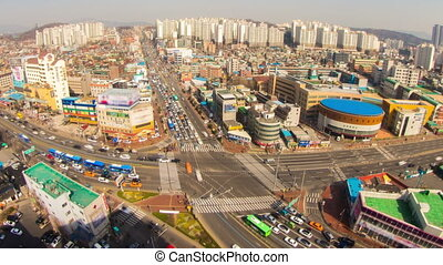 Seoul City Zoom 187 - 187) Zooming time lapse of traffic and...