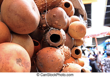Hollow Gourds Hanging in a Market