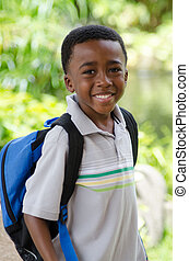 Time For School - Portrait of an African American boy...