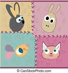 four different faces of domestic animals