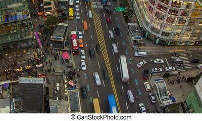 Seoul City Zoom 201 - 201) Zooming time lapse of traffic and...
