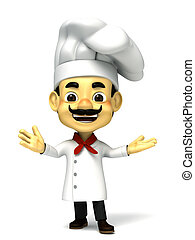 3d chef open hand - 3d render chef cartoon collection