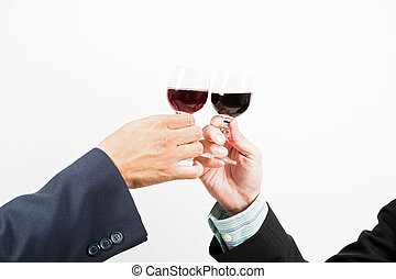 business celebration with wine - Close-up of human hands...