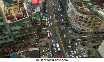 Seoul City 203 - 203) Time lapse of traffic and cars in...