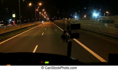 Night riding on the bus on the highway