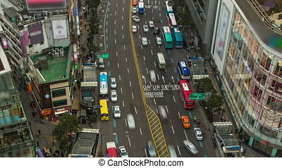 Seoul City Zoom 203 - 203 Zooming time lapse of traffic and...