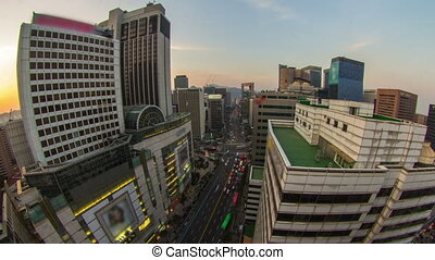 Seoul City 206 - 206) Time lapse of traffic and cars in...