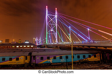 Nelson Mandela Bridge at Night - Nelson Mandela Bridge at...