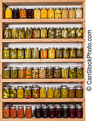 Storage shelfs with canned food - Storage sheves in pantry...