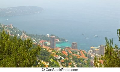 Principality of Monaco, top view, timelapse