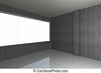 Empty room, bare concrete wall and reflecting floor -...