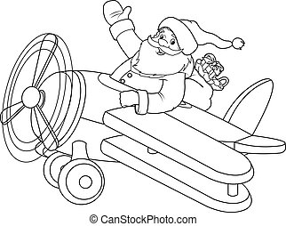Santa on the Plane coloring page - Santa Flying His...