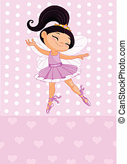 Little brunet princess - Happy little princess over pink...
