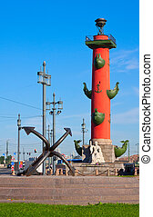 Rostral column in sunny day - View of St. Petersburg....
