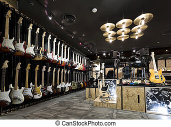 musical instrument store - Horizontial shot of inside a...