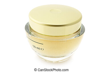 Cosmetic cream - Closed jar of cosmetic cream isolated on...
