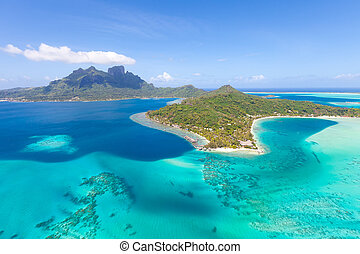 french polynesia from helicopter - gorgeous view at bora...