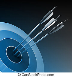 Arrows hitting the center of target - success business...