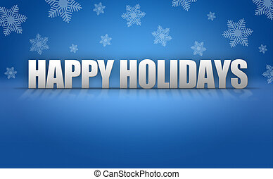 Happy Holidays Text Logo on Snowflake Background - Happy...