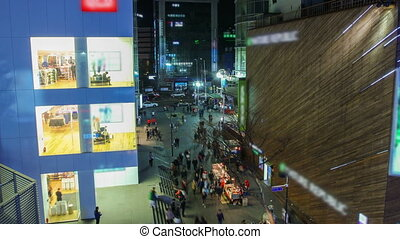 Seoul City 211 - 211) Time lapse of large crowds of people...