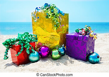 Gift bag and boxes with Christmas balls - holiday concept -...