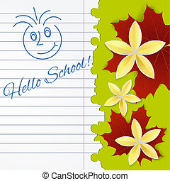 Sheet of school notebook with flowers and