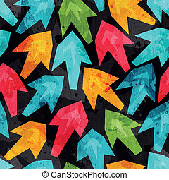 colored arrows seamless pattern with grunge effect