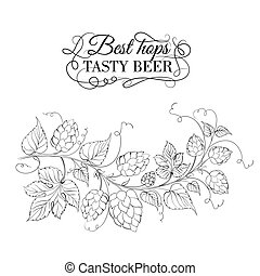 Decorative hops garland. Vector illustration.