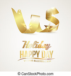 Gold ribbon isolated in white. Vector illustration.