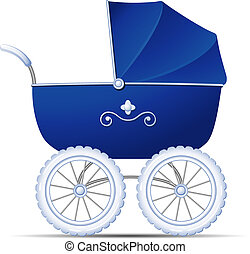 Baby Carriage - Blue Baby Carriage over white. EPS 10, AI,...