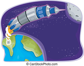 Rocket in Outer Space - Illustration of Rocket in Outer...