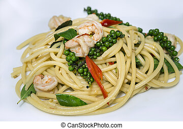 Spaghetti Seafood - Thai Spaghetti Seafood Kheemao hot and...