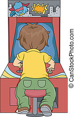 Kid Boy Playing in Arcade - Rear View Illustration of Kid...