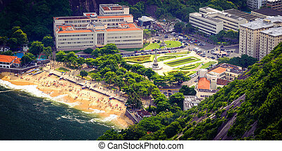 Urca - Aerial view of buildings on the beach, Urca, Rio de...