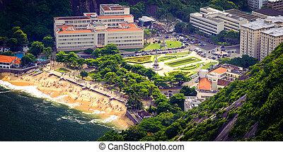 Urca - Aerial view of buildings on the beach, Urca, Rio de...