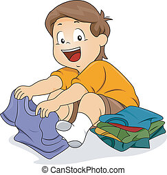 Kid Boy Folding Shirts - Illustration of Kid Boy Folding...