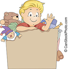 Kid Boy in a Toy Box