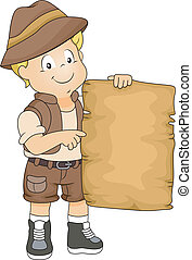 Kid Boy with Blank Adventure Map - Illustration of Kid Boy...