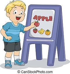 niño, colocación, manzana, niño, tabla