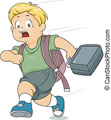 Kid Boy Late for School - Illustration of a Kid Boy Running...